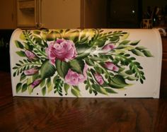 hand painted mailboxes | Personalized hand painted roses an d ferns design mailbox ...