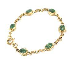CIJ Sale- Vintage Bracelet, 12K Gold Filled Bracelet, Green Jade Bracelet, 1940s 1950s Jewelry, Jade Stone Jewelry, Christmas In July by AVintageJewelryChest, $29.00