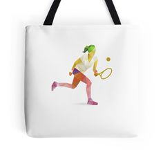 Colorful geometric tennis woman player