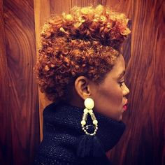 short hair, curly hair, black womens inspiration, mohawk, black girl with reddish hair Tapered Natural Hair, Be Natural, Natural Beauty, Natural Girls, Natural Women, Afro, Curly Hair Styles, Natural Hair Styles, Locks