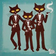 NEED THIS. Need this on my wall. Three Cool Cats: http://youtu.be/EVw9dV8h1ak (The Art Of El Gato Gomez)