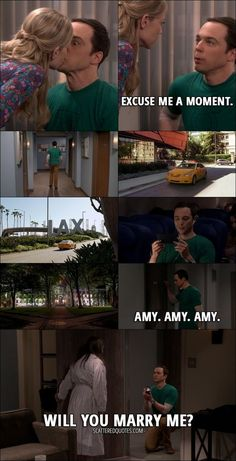 Quote from The Big Bang Theory 10x24 │ Sheldon Cooper: Question: are you seeking a romantic relationship with me? Ramona Nowitzki: What if I were? Sheldon Cooper: Well, that would raise a number of problems. We're colleagues. I'm currently in a relation... (Ramona kisses him) Excuse me a moment. (Sheldon leaves the office, gets into a taxi going into airport, flies into New Jersey and knocks on Amy's door) Amy. Amy. Amy. (Amy opens the door to Sheldon kneeling on one knee with a ring) Will…