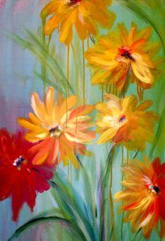 SuNbUrSt  Artist: Nancy DESPINS  Acrylic on Canvas  2' x 4' Flower Art, Pear, Seasons, Canvas, Prints, Artist, Flowers, Blue, Painting
