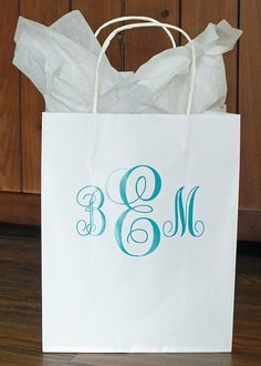 Monogram a gift bag with a large vinyl decal