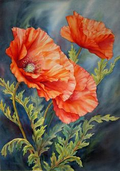 Poppies In The Wind - Marianne Broome, watercolor