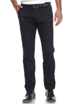 Kenneth Cole Men's Stretch Performance Chino Slim Fit Flat Front Pants - Black - 33 X 30
