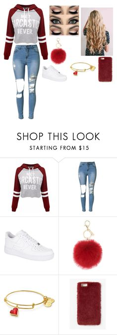 """""""Red"""" by kayla-owen ❤ liked on Polyvore featuring WithChic, NIKE, L.K.Bennett and Missguided"""
