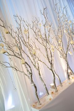 34 Perfect and Romantic Winter Wedding Branch Centerpiece - Dekoration - hochzeit Winter Wedding Decorations, Wedding Reception Centerpieces, Christmas Decorations, Christmas Branches, Branch Centerpieces, Centerpiece Ideas, White Branch Centerpiece, Table Decorations, White Branches