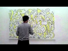 Here's that chap Jon Burgerman painting in Paris (with VDU on the beats n blips!)