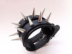 Spiked Leather Cuff Double Strap Punk Bracelet  by ToxifyDesigns
