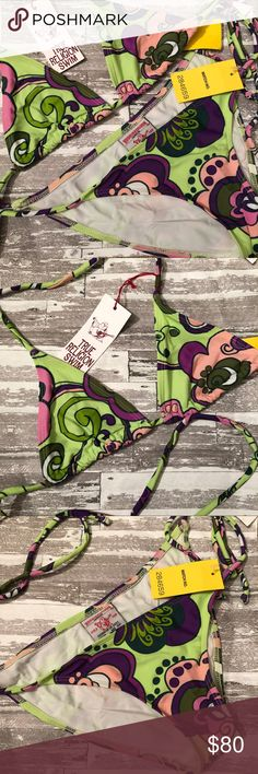 "NWT 👙 True Religion String Bikini Set NWT 👙 True Religion String Bikini Set. Size M. Hygienic Liner intact. Triangles measure 5.5""x6"". No padding. True Religion Swim Bikinis"