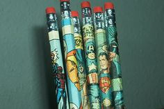 Comic book pencils made by me and available at www.etsy.com/shop/redwingedblackbirds