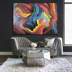 Hand Painted 16x20 Inches The Kiss Limited Edition Series of 100 Signed and Numbered Modern Contemporary Abstract Black Line Drawing on Cold Pressed Paper for Home Decor Original Acrylic Painting
