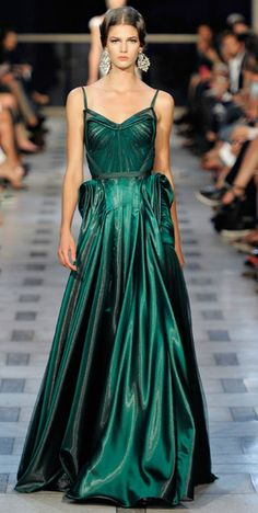 Zac Posen…emerald green dress...so glamorous