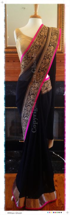 Black georgette saree with real zari work. Gold brocade blouse. #reception #modestblackdress