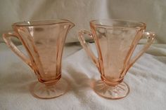 Vintage Pink Depression Glass Cream & Sugar with Etched Grapes Pattern Cone