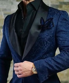 by Sebastian Navy Blue & Black Paisley Dinner Jacket Sebastian Cruz Couture Want to get OFF? Simply add 5 items to your cart.Sebastian Cruz Couture Want to get OFF? Simply add 5 items to your cart. Blazer Outfits Men, Stylish Mens Outfits, Mens Fashion Suits, Mens Suits, Fashion Outfits, Prom Suits For Men, Designer Suits For Men, Gentleman Style, Mens Clothing Styles