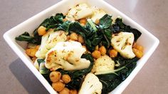 Fried Cauliflower, Chickpea and Swiss Chard http://www.vegangela.com/2011/05/17/cauliflower-chickpea-swiss-chard-salad/#