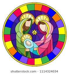 Illustration in stained glass style on biblical theme, Jesus baby with Mary and Joseph, abstract figures on blue background, round image in bright frame Christmas Yard Art, Christmas Window Decorations, Quilling Christmas, Christmas Rock, Christmas Nativity Scene, Christmas Crafts, Stained Glass Quilt, Stained Glass Patterns, Cross Art