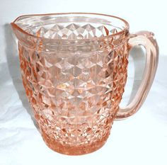 """Depression Glass - Jeannette - Holiday - Pink Water Pitcher 6 3/4"""""""