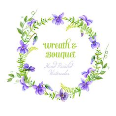 Viola Flowers Wreath  and Bouquet. Watercolor by ReachDreams