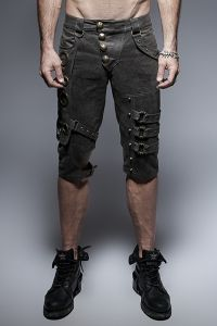 Steampunk Shorts mit bronzefarbenen Applikationen