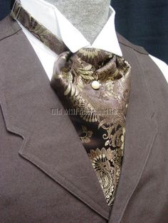 Brown+brocase+Old+West+style+Ascot+tie+adjustable+size~~MADE+in+USA~~