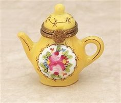 Limoges Yellow Teapot with a Rose Box The Cottage Shop