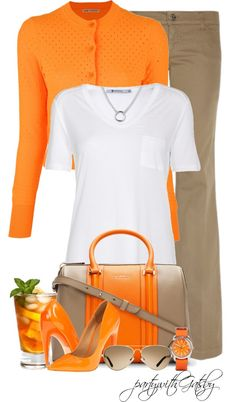 """""""Sunkist"""" by partywithgatsby ❤ The orange does wonders for this outfit."""