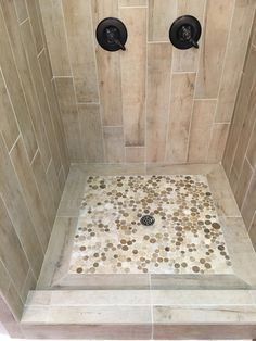 Master Shower Pan with Stone Mosaic