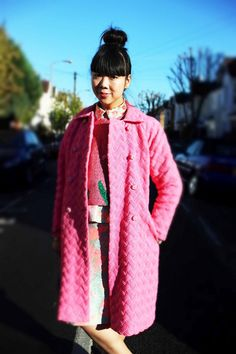 Susie Lau of Style Bubble in a cute pink coat.Streetstyle