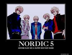 Nordic 5, Sweden Finland Iceland Norway and Denmark - hetalia