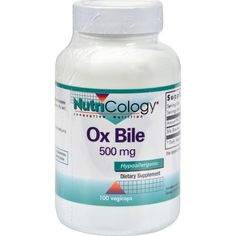 Nutricology Ox Bile - 500 Mg - 100 Vegetarian Capsules NutriCology Ox Bile Description: Hypoallergenic   Ox Bile is derived from a bovine source, freeze dried to maintain it's biological activity. A suitable supplement to the liver's production of bile. Bile is naturally produced by the body and is used in the process of digestion. Disclaimer These statements have not been evaluated by the FDA. These products are not intended to diagnose, treat, cure, or prevent any disease. Size : 100 CAP…