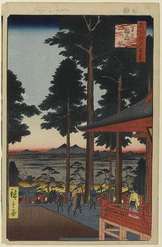 Hiroshige - One Hundred Famous Views of Edo Spring 18 The Ōji Inari Shrine (王子稲荷の社 Ōji Inari no yashiro?)Ōji Inari Shrine, Mount Tsukuba — 1857 / 9Kishi-machi, Kita