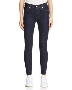7 For All Mankind The High Waist Ankle Skinny Jeans in Dark Rinse | Bloomingdale's