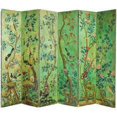 Mid-19th Century Six Fold Screen | From a unique collection of antique and modern screens and room dividers at https://www.1stdibs.com/furniture/more-furniture-collectibles/screens/
