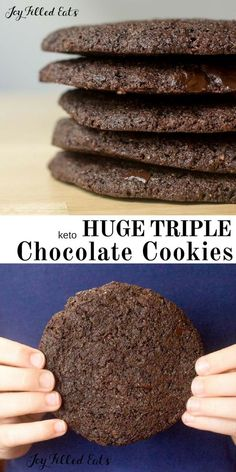 Who doesn't love a chocolate cookie as big as your hand? With dark chocolate, chocolate chips, & cocoa these Triple Chocolate Cookies live up to their name. Triple Chocolate Cookies - Low Carb, Keto, THM S, Gluten-Free, Grain-Free, Dairy-Free, Sugar-Free - Sugar Free Desserts, Low Carb Desserts, Diabetic Desserts, Triple Chocolate Cookies, Chocolate Chocolate, Bakers Chocolate, Low Carb Cookies, Keto Postres, Keto Recipes