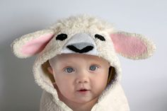 Lamb Baby Hooded Towel, Sheep Hooded Towel, Personalized Baby Towel, Baby Gift, Fleece Applique and Trim, 12 - 18 Months, 18 Month - 3 Year by ChiChateau on Etsy https://www.etsy.com/listing/243554148/lamb-baby-hooded-towel-sheep-hooded