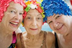 beautiful bathing beauties #WhenIAmAnOldWoman I'll own (and wear) a floral bathing cap and stay fit with friends
