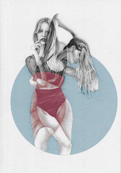 Drawing double girl  fashion Illustration van naranjalidad op Etsy
