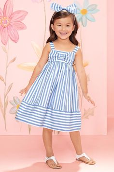 """""""Shop Chasing Fireflies for our Girls Big Bow Stripe Dress. Browse our online catalog for the best in unique children's costumes, clothing and more. Frilly Dresses, Cute Dresses, Party Fashion, Girl Fashion, Little Girl Dresses, Girls Dresses, Butterfly Dress, Striped Dress, Baby Dress"""
