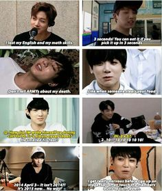 Jungkook//The bottom left cracks me up Bc that's totally me