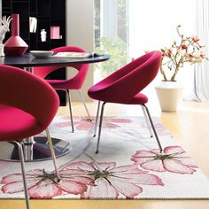 Jardin Rugs by the Arte Espina Trendy Line Range feature a subtle bloom of flowers with a pastel pink colour palette.