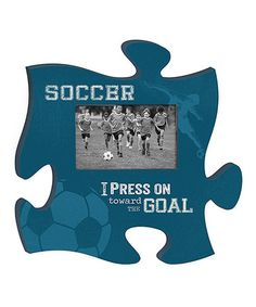 This 'Soccer' Puzzle Piece Photo Frame is perfect! #zulilyfinds