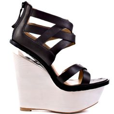 Looks SOOO supple & delicious!'s Black Midori - Black Leather upper, cream colored wedge. Ugly Shoes, Cute Shoes, Me Too Shoes, Women's Shoes, Walking On Glass, Black And White Love, Killer Heels, Dream Shoes, Shoes Outlet