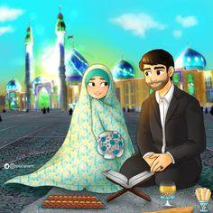 Image may contain: 3 people Cartoon Girl Images, Girl Cartoon, Cartoon Art, Art Drawings For Kids, Anime Couples Drawings, Art Magazin, Karbala Photography, Islamic Cartoon, Cute Muslim Couples