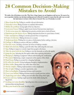28 Common Decision-Making Mistakes to Avoid | Values to Live By…