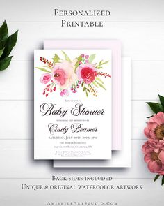 Floral Girl Baby Shower Invitation with charming and beautiful watercolor floral graphics in vintage and romantic style by Amistyle Art Studio on Etsy Baby Shower Invites For Girl, Baby Shower Invitations, Birthday Invitations, Watercolor Artwork, Floral Watercolor, Printable Invitations, Custom Invitations, Handmade Shop, Handmade Gifts