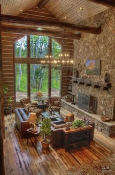 B & B Builders create this spectacular cabin in the woods.