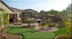 Good Scarification of Turf Backyard — Arizona Home Decor Backyard Arizona, Desert Landscaping Backyard, Modern Landscaping, Backyard Patio, Landscaping Ideas, Backyard Putting Green, Backyard Ideas For Small Yards, Backyard Designs, Las Vegas